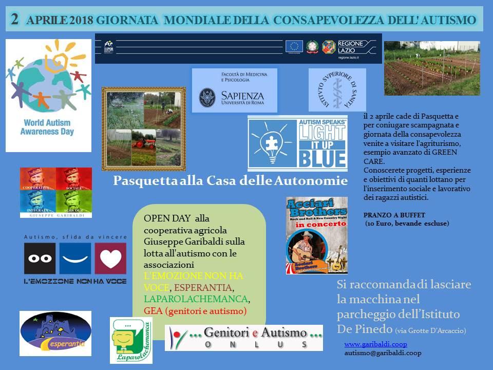 Pasquetta: Open Day della Cooperativa Garibaldi sulla lotta all'autismo